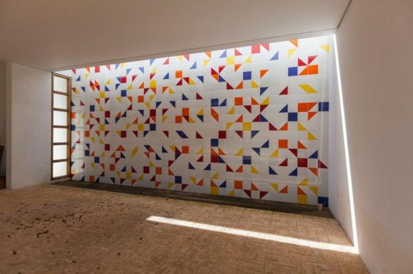 schicke residenz geometrische bunte wanddekoration