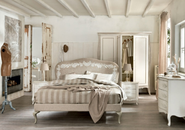 schlafzimmer desings mit natürlichem flair weiße antik kommoden ...