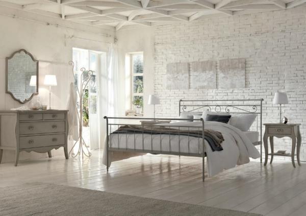Schlafzimmer designs mit natürlichem flair ziegelwand in weiß