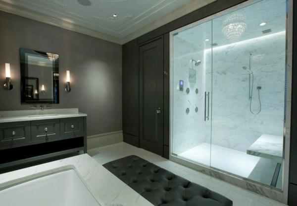 smart phone technologien im haus schicke duschkabine mit einbauleuchten