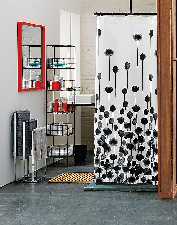 stilvolle wandspiegel duschvorhang mit stilisierten blumen