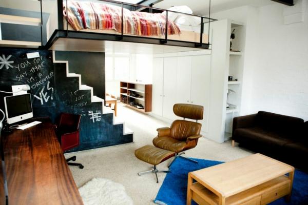 stilvolles londoner appartement ergonomischer sessel aus leder