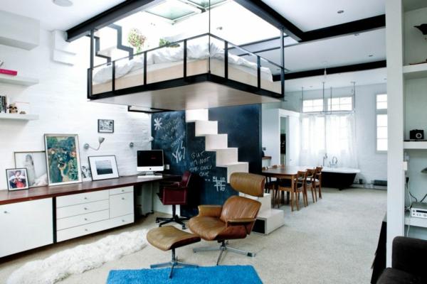 stilvolles londoner appartement hochbett und schmale treppe