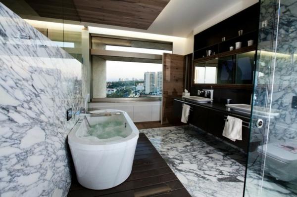stylische wohnung ovale badewanne wand und fußboden aus marmor