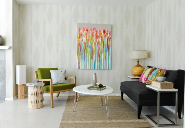 trends für retro möbel olivengrüner sessel und abstraktes gemälde