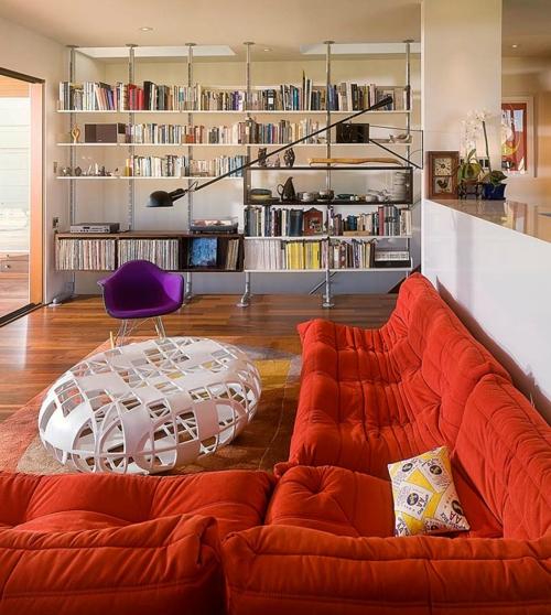 tropisches ambiente zu hause frisch farben ecksofa bequem orange