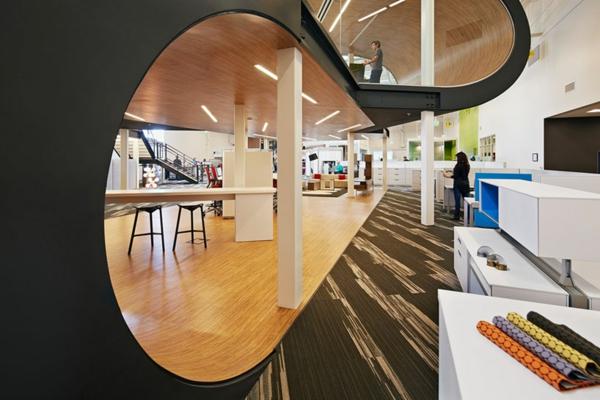 ultra moderne geschäftsstelle glänzende oberflächen ovale formen