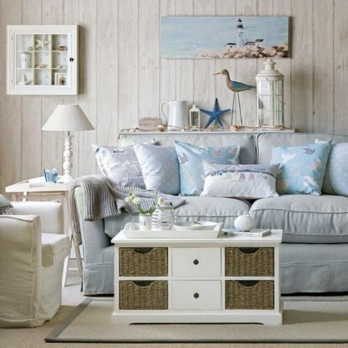 wohnzimmer mit strand flair couchtisch mit rattan schubladen