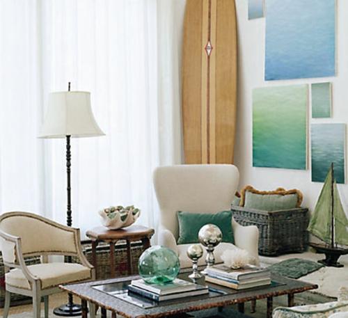 wohnzimmer mit strand flair im retro stil