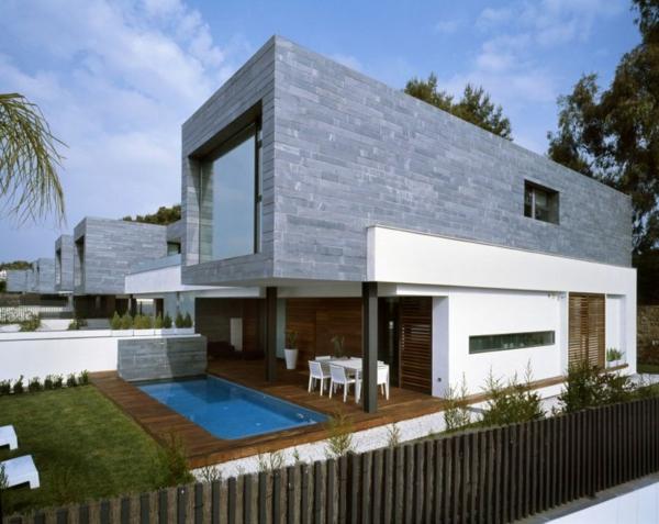 zeitgenössische luxus doppelhäuser holzboden am pool