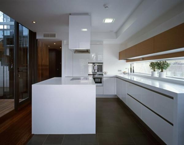 zeitgenössische luxus doppelhäuser minimalistische küche glänzend weiß