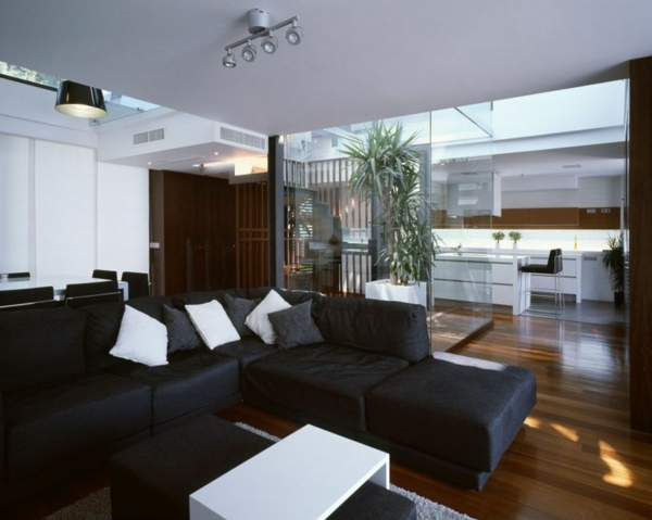 zeitgenössische luxus doppelhäuser sofa und beistelltisch in schwarz und weiß