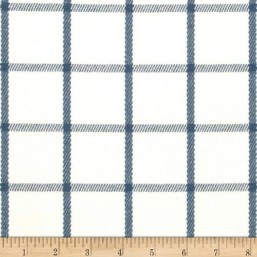 Blau-Weiß gemusterte Dekostoffe blumen quadraten