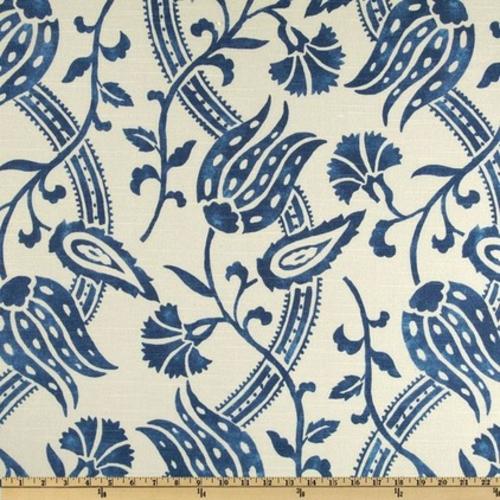 Blau-Weiß gemusterte Dekostoffe blumen ziermotive schön traditionell