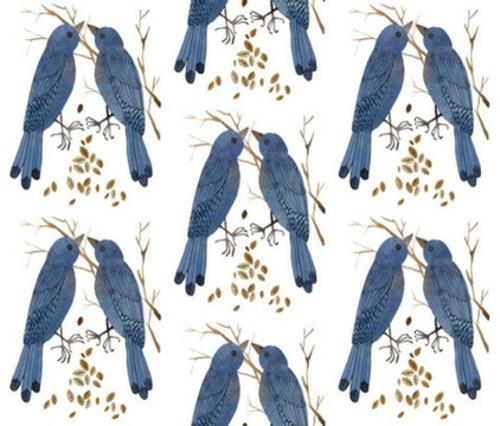 Blau-Weiß gemusterte Dekostoffe cottage vogel