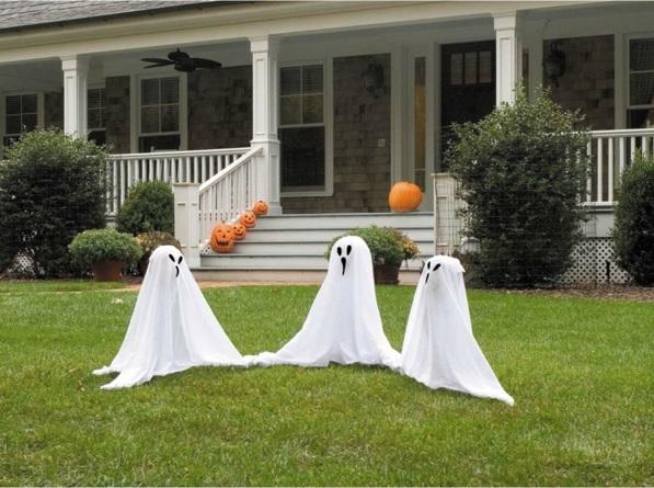 Coole Halloween Deko Ideen kürbisse wohnung fest geist bettwäsche