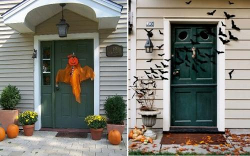 Party Dekoration im Garten zu Halloween eingangstür