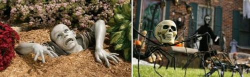 clevere Party Dekoration im Garten zu Halloween erschreckend