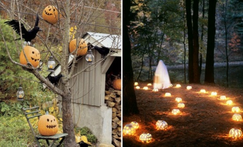 Coole Party Dekoration im Garten zu Halloween kerzen lichter