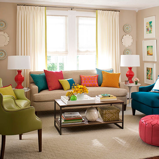 coole wohnzimmer ideen:Colorful Living Room Decorating