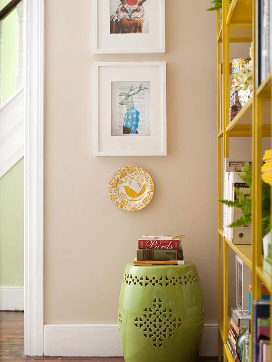 Coole Wohntipps Wohnzimmer Dekoration hocker grün lackiert