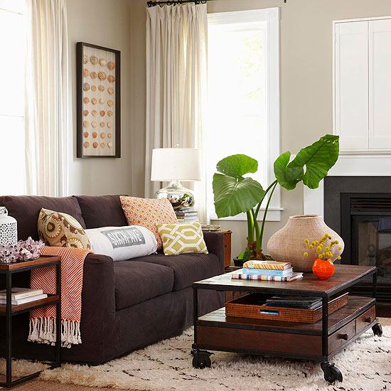 coole praktische wohnzimmer designs - interessante einrichtungsideen - Wohnzimmer Sofa Braun