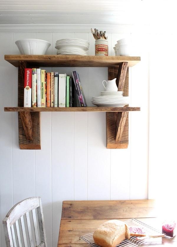 DIY Deko Ideen aus wiedergewonnenem Holz möbel offen regale küche