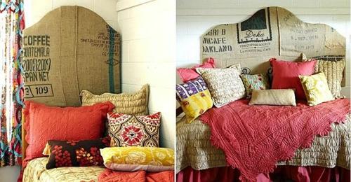 DIY Vintage Kopfteil für Ihr Bett selber machen bunte kissen karton