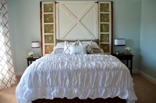DIY Vintage Kopfteil für Ihr Bett selber machen holz weiß bettwäsche seide