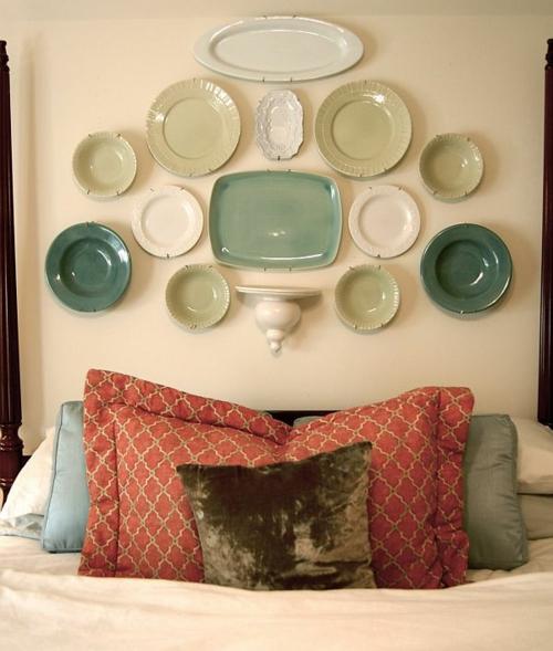 DIY Vintage Kopfteil für Ihr Bett selber machen keramisch grün wandteller