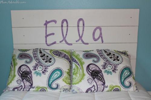 DIY Vintage Kopfteil für Ihr Bett selber machen lila geschrieben ella
