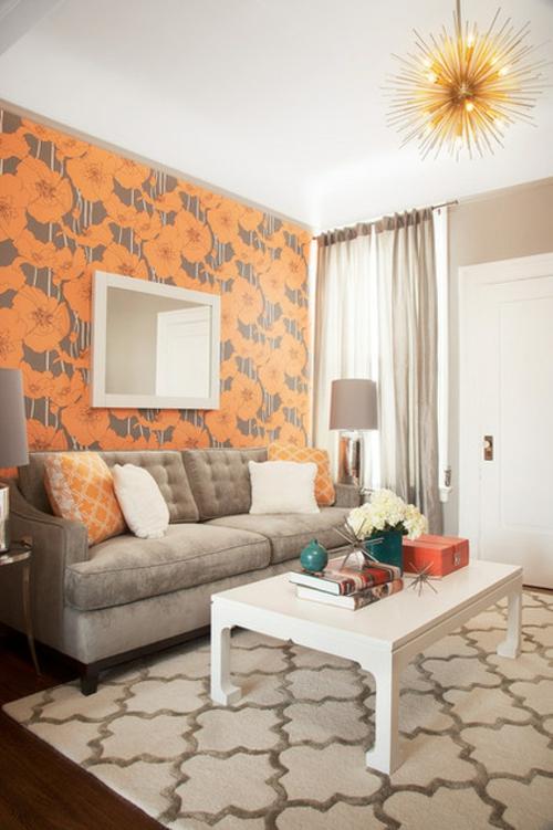 Design und Mode der 70er kleidung idee interieur orange gemustert blumen wand