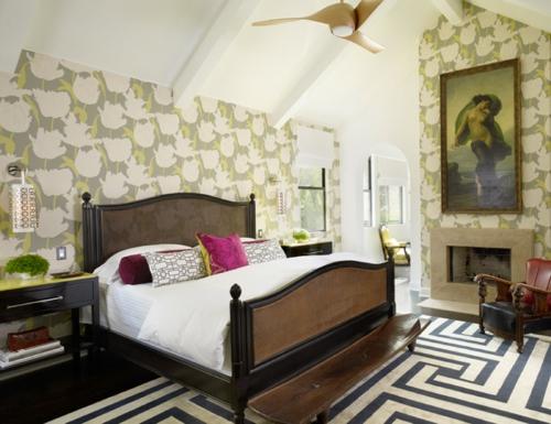 Design und Mode der 70er kleidung idee schlafzimmer bett kissen wand