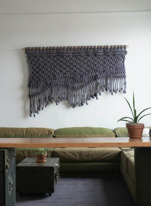 Design und Mode der 70er wanddekoration gestrickt überwurf sofas tischplatte