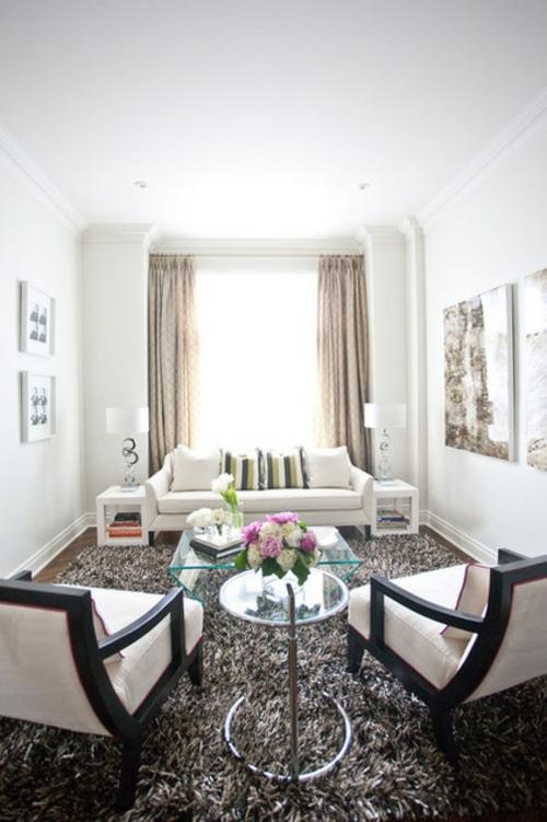 Design und Mode der 70er weiß einrichtung wohnzimmer sofa gardinen beige