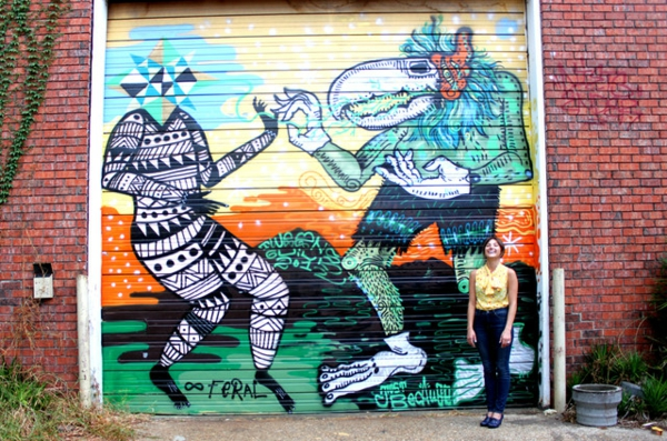 Eklektisches Innenarchitektur in einer Loft Wohnung graffiti stilvoll