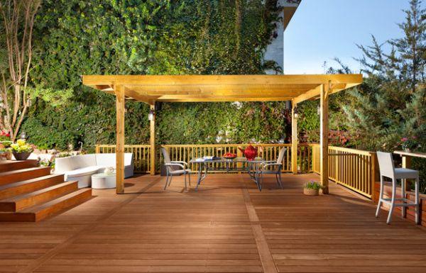 Pergola Design Gestaltung holz bodenbelag geländer treppe