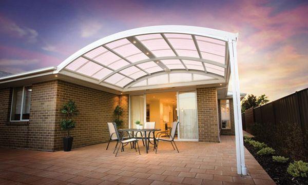 Elegante Pergola Design Gestaltung modern glas dach hinterhof