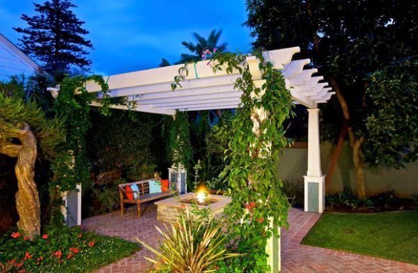 Elegante Pergola Design Gestaltung pflanzenarten schön garten