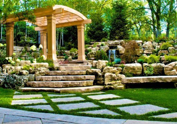 Elegante Pergola Design Gestaltung pflanzenarten stein stufen