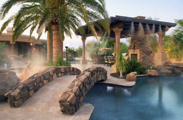 Elegante Pergola Design Gestaltung pool brücke stein exotisch