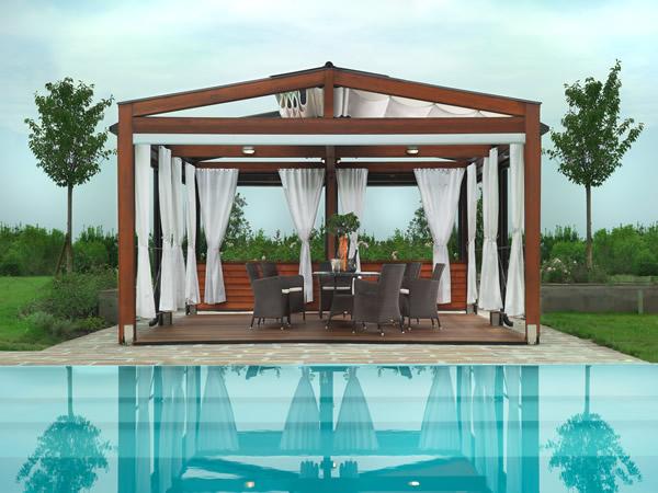 Elegantes Pergola Design Gestaltung gardinen pool umgebung