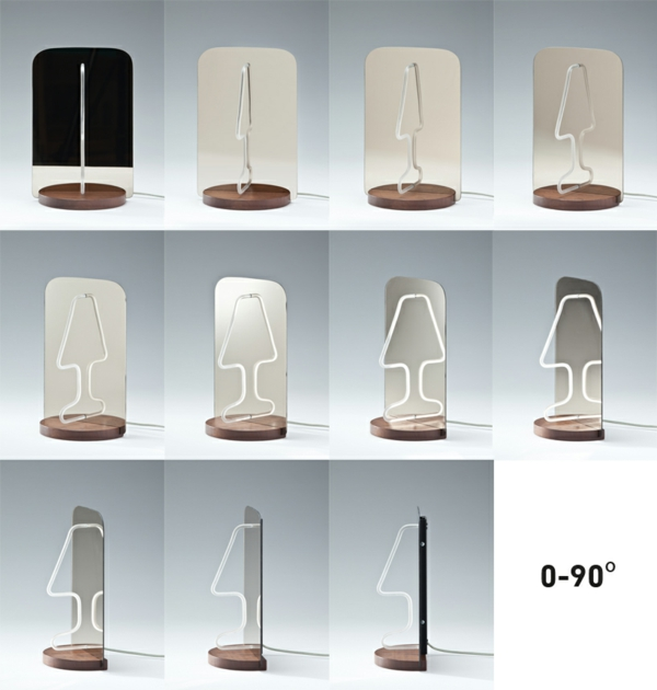 Geniales reflektierendes Tischlampe Design spiegel moitie drehung