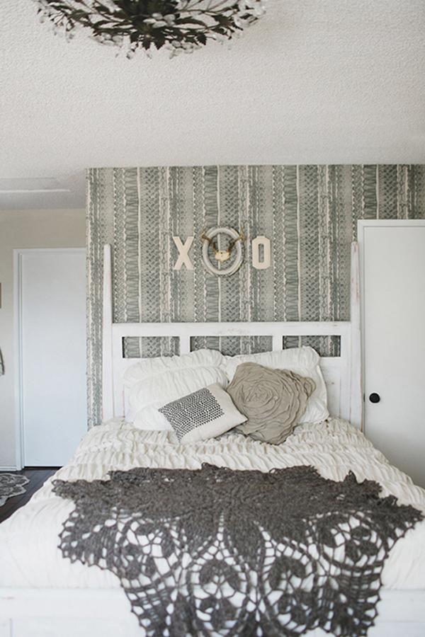 Gestrickte und gehäkelte Dekoration zum Selbermachen schlafzimmer grau