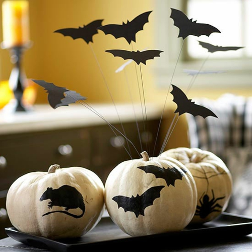 Dekoideen zu Halloween zum Selbermachen maus fledermaus