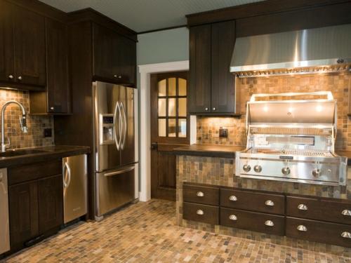Küchen Design mit eingebautem Grill modern fußboden schrank kühlschrank