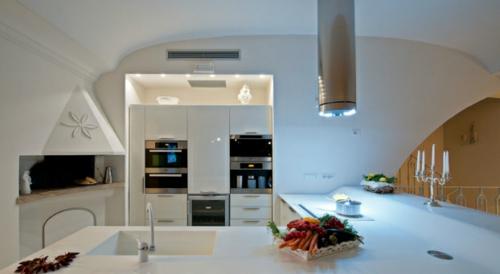 Küchen Design mit eingebautem Grill modern glanzvoll kochfläche