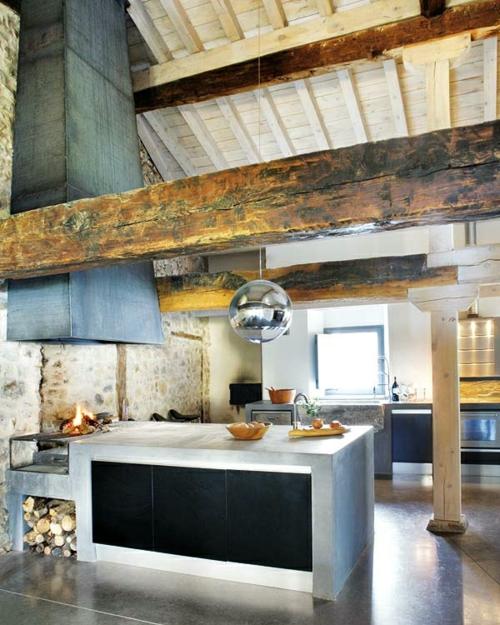 Küchen Design mit eingebautem Grill modern holzbalken arbeitsplatte