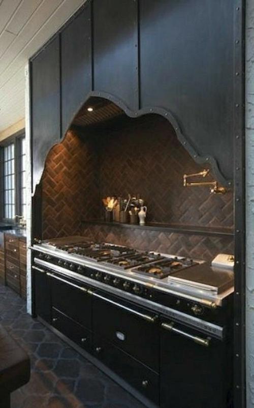Küchen Design mit eingebautem Grill modern stahlhülle haube