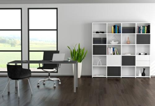 office design offene regale minimalistisch eingerichtet fenster tageslicht